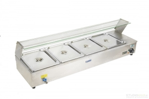 Bain Marie 4 containers, food warmer with casing